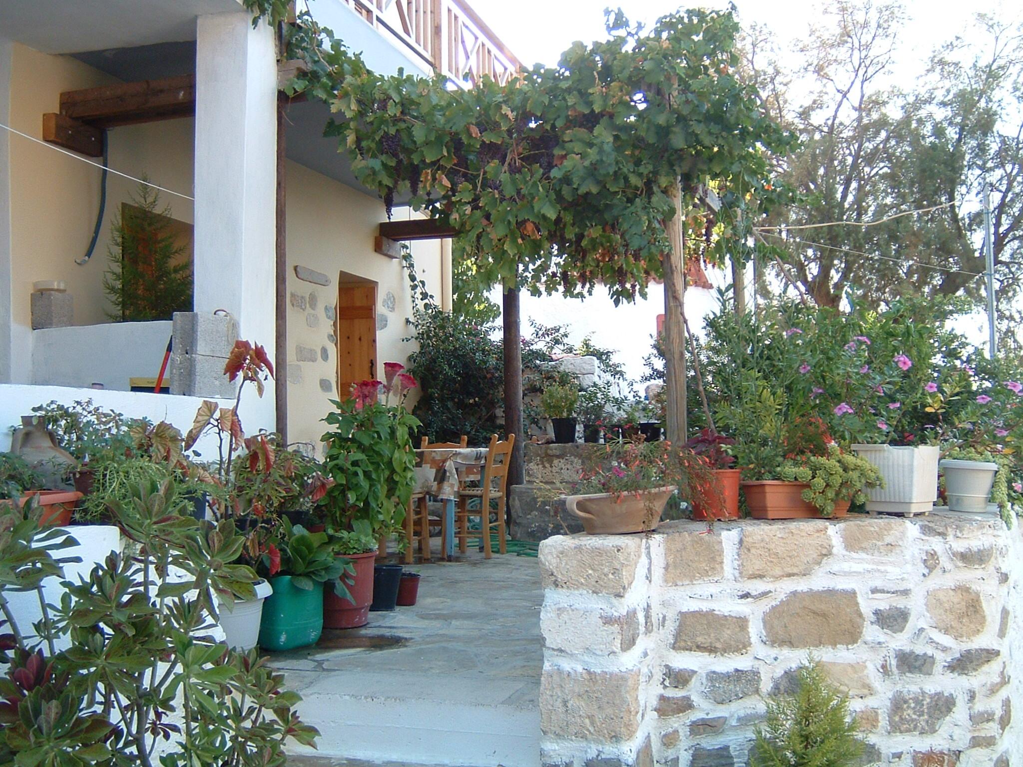 Nyrenovert landsbyhus i Kavousi med gårdsplass og takterrasse.